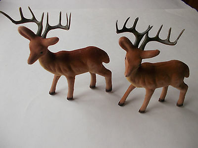 6'' Brown Buck Deer Standing~New~Lot Of 2 Flocked Wildlife Hunting Antlers Craft