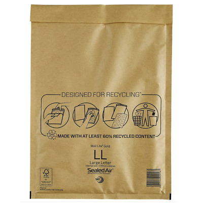 100 X LL MAIL LITE SEALED AIR PADDED ENVELOPES LARGE LETTER (250 x 350mm) - GOLD