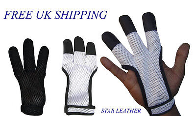 Archers Mesh Shooting 3 Fingers Glove White & Black