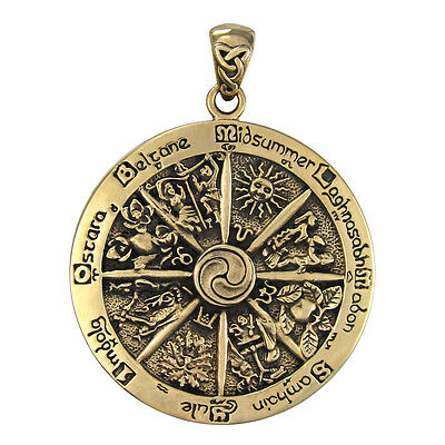 Bronze Wheel of the Year Pendant Wicca Pagan Wiccan Sabbats Jewelry Dryad Design