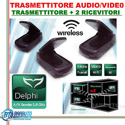 TRASMETTITORE RIPETITORE AUDIO VIDEO 5.8Ghz+2 RICEVITORI X TV/DECODER PAY-TV/SKY