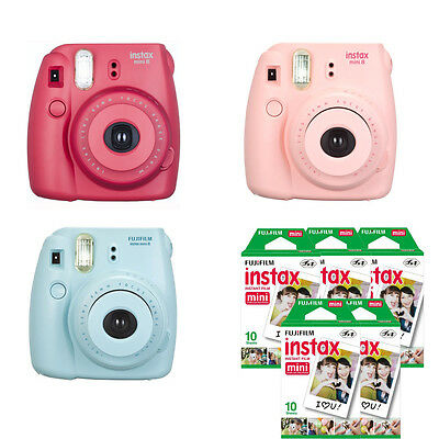 Fujifilm instax mini 8 Fuji Instant Film Camera + 50 Prints, Blue Red Pink