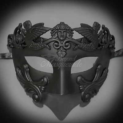 Men Egyptian Greek Venetian Masquerade Mask - Roman Warrior - Black