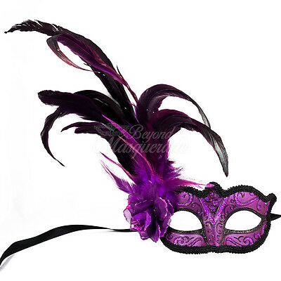 Royal Purple Fashionable Venetian Feather Masquerade Mask w/ Rose for Women