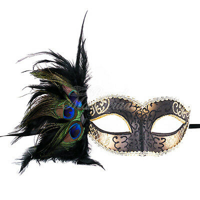 Black & Gold Peacock Masquerade Mask with Feathers Venetian Details for Women