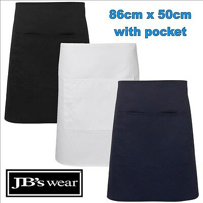 86cm x 50cm Pocket Apron Easy Care Fabric TAFE Apron [ONE SIZE] Black White Navy