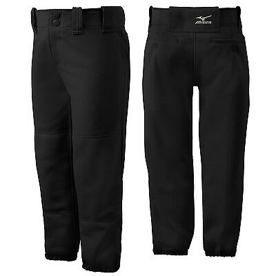 Mizuno Youth Girl's Belted Fastpitch Softball Pant - Black - Small