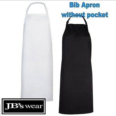 BIB Pocketless Apron Easy Care Fabric TAFE Apron [ONE SIZE] Black, White