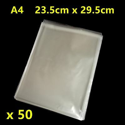 50pcs A4 Size Self Adhesive Self Seal Resealable Clear Plastic Bags 23.5x29.5cm