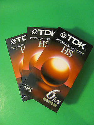 TDK HS 8hrs T-120 Premium Quality Sealed Blank VHS Tapes. 3 Tapes Total.