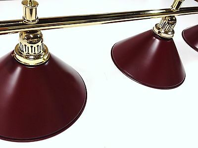 Large QUALITY Pool Snooker Billiard Table Light Brass with 4 x Burgundy Shades