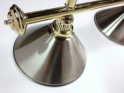 Large QUALITY Pool Snooker Billiard Table Light Brass with 4 x Stainless Shades