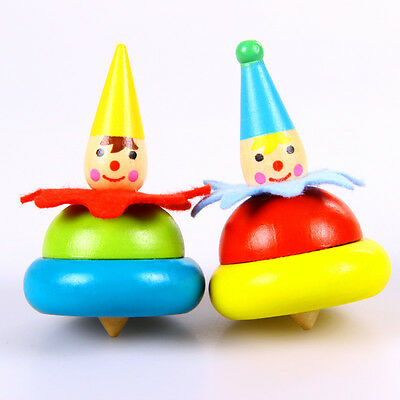 Wooden children's Educational Toys Traditional Clown Spinning Top Gyro Nostalgic