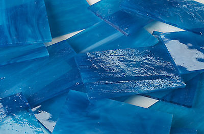 Ocean Blue Stained  Mosaic Glass  - 8 Sheets