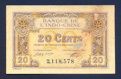 FRENCH INDOCHINA 20 Cents 1919 - AU  - Pick 45a