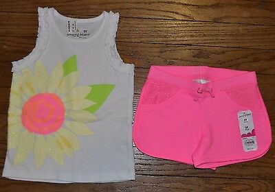 Size 2T Jumping Beans Outfit Sleeveless Top T-Shirt & Pink  Shorts with Lace