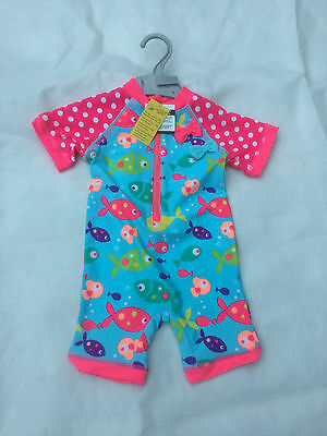 GIRLS BRIGHT NEON FISH UVA & UVB SURF SUIT SWIMWEAR SIZES 3-6MS to 4-5 YRS