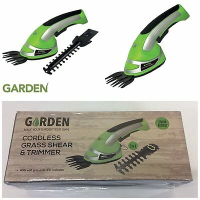 Garden Cordless 2 in 1 Grass Lawn Shear Bush Hedge Hand Trimmer Cutter Battery