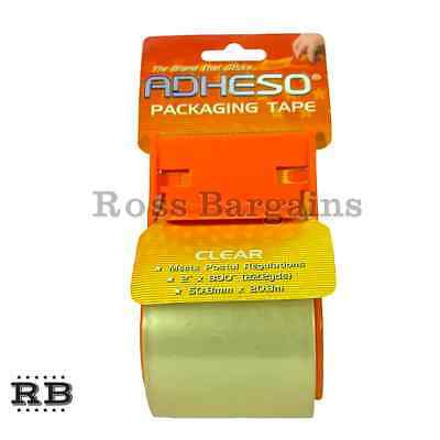 """2x NEW ADHESO 2"""" x 800"""" Packaging Packing Clear Tape w/ Dispenser"""