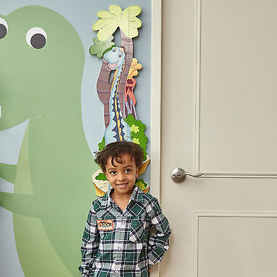 Childrens Dinosaur Kingdom Themed Kids Wooden Wall Mounted Growth Height Chart