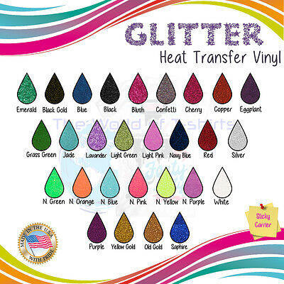 "Glitter Heat Transfer Iron on Vinyl For T shirts 12""x10"" Sheets-19 ColorsPack :)"