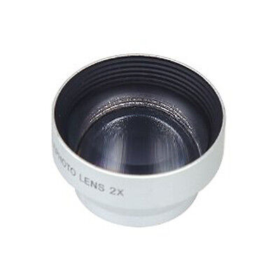 2X Telephoto Zoom Camera Lens Detachable Magnetic for Phone/Tablet Silver LW