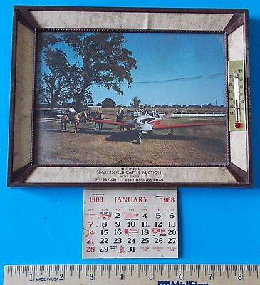 Vintage Advertising Thermometer 1968 Calendar Picture Bakersfield Cattle Auction