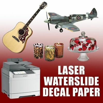 Premium LASER Waterslide Decal Paper - WHITE - 25 sheets - 8.5 x 11