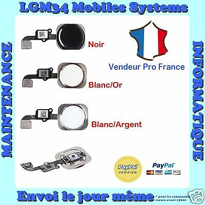 BOUTON HOME + NAPPE COMPLET IPHONE 6 ou 6 PLUS en NOIR BLANC ARGENT OR
