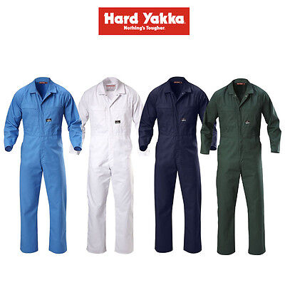 Mens Hard Yakka Foundations Coverall Poly Cotton Blend Overalls Light Y00015