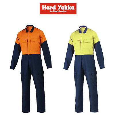 Mens Hard Yakka Protect Hi-Vis 2 Tone Tecgen Coverall Fire Safety Work Y00101
