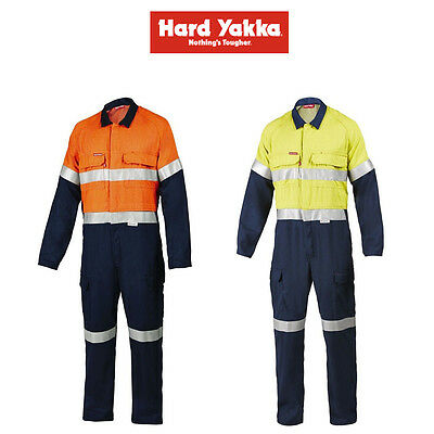 Mens Hard Yakka Protect Hi-Vis 2 Tone Tecgen Coverall Fire Safety Taped Y00102