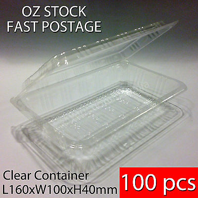 100 pcs x BNIB Sushi Food Party Take Away Disposable Container Clear Plastic 2R