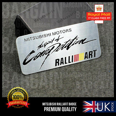 Mitsubishi Motors Ralliart Brushed Lancer Evo Turbo Spirit Competition Car Badge