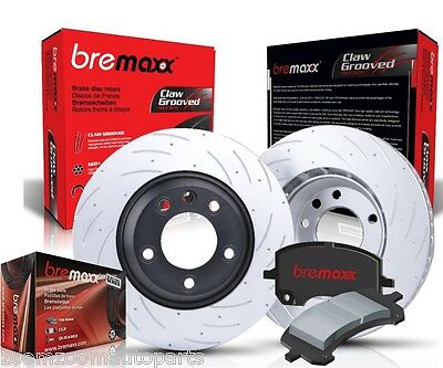 Slotted Pair Front Bremaxx Disc Brake Rotors & Pads Skyline R33 Gtst Gts-T