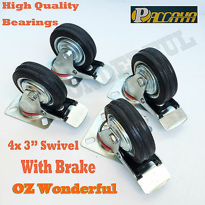 "4 pc Paccaya 3"" With Brake Swivel Castor Wheel 75mm Castors New Good Quality"