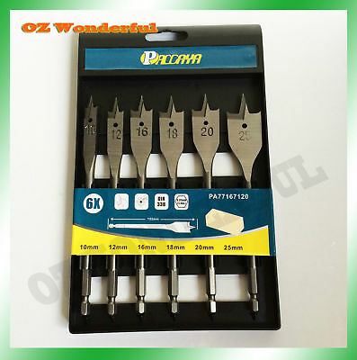 6PC Wood Boring Spade Metric Drill Bit Set, 10 12 16 18 20 25mm Bits DIN338