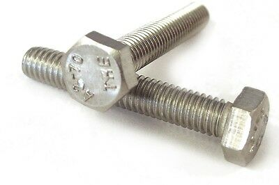 Qty 10 Hex Set Screw M8 (8mm) x 30mm Stainless Steel SS 304 A2 70 Bolt