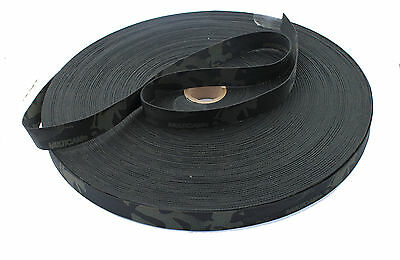 """Double Sided Crye Multicam Black Camouflage Military Spec 25mm / 1"""" Webbing"""