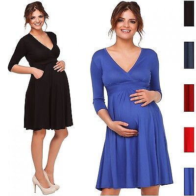 Happy Mama. Women's Maternity Skater Dress Pregnancy. 3/4 Sleeves. Pockets. 783p
