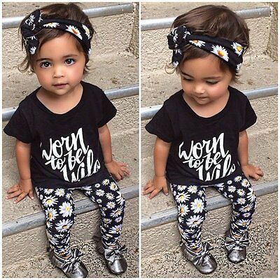3PCS Toddler Kids Baby Girls Headband+T-shirt+Floral Pants Outfits Clothes Sets