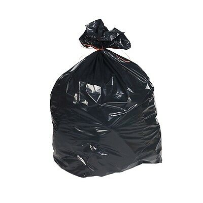 "200 x Heavy Duty Black Refuse Sacks Bin Liner Bags / Size 18"" x 29"" x 39"""