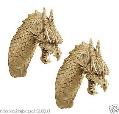 Set of 2 DETAILED DRAGON WALL TROPHY COLLECTIBLE SCULPTURE - LINE YOUR CASTLE