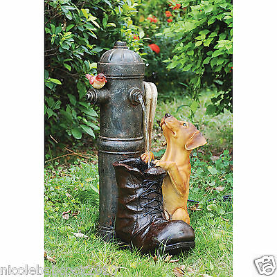 Fire Hydrant & Firefighter Boot Fountain Water W/ Puppy Sculpture Led Light Kit