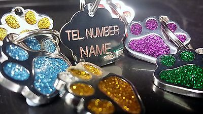 Designer Pet Tag Glitter Paw Print DEEP Engraved - ALL COLOURS AVAILABLE cat Dog