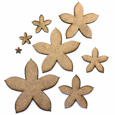 Flower Craft Shapes, Embellishments, Decorations, 2mm MDF.
