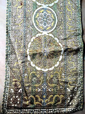 "Antique Metallic Jacquard Weave Tapestry Table Runner 14.5"" X 48"" Rich Colors"