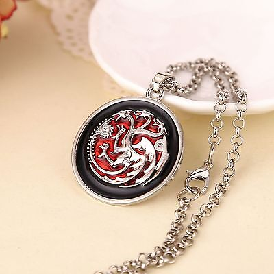 Game of Thrones Halskette Targaryen Drache Wappen Fire and Ice Neu