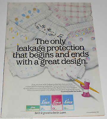 1992 vintage ad page - LUVS PHASES BABY DIAPERS - BOYS GIRLS 1-PAGE PRINT cute