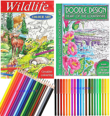 2 X Adult Colouring Book Books Set Colour Therapy + 20 Pencils + 20 Felt Pens
